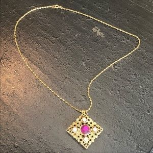 Jewelry - Vintage Gold & Purple Crystal Scrollwork Necklace